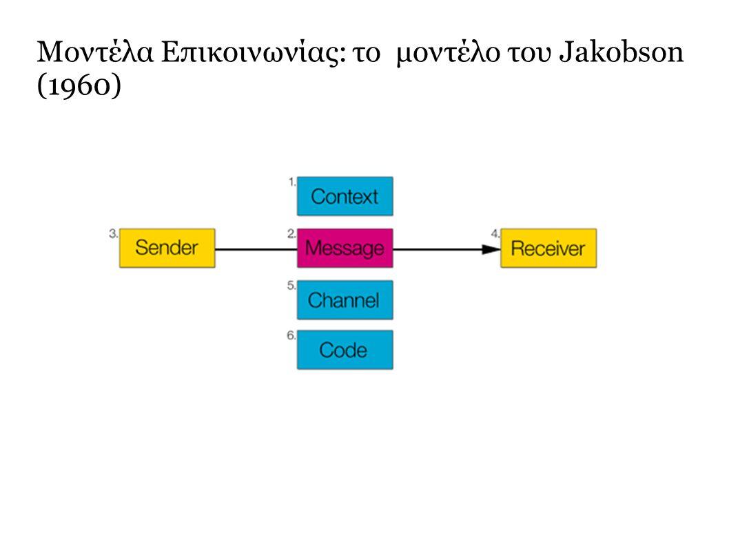 Μοντέλα Επικοινωνίας: το μοντέλο του Jakobson (1960)