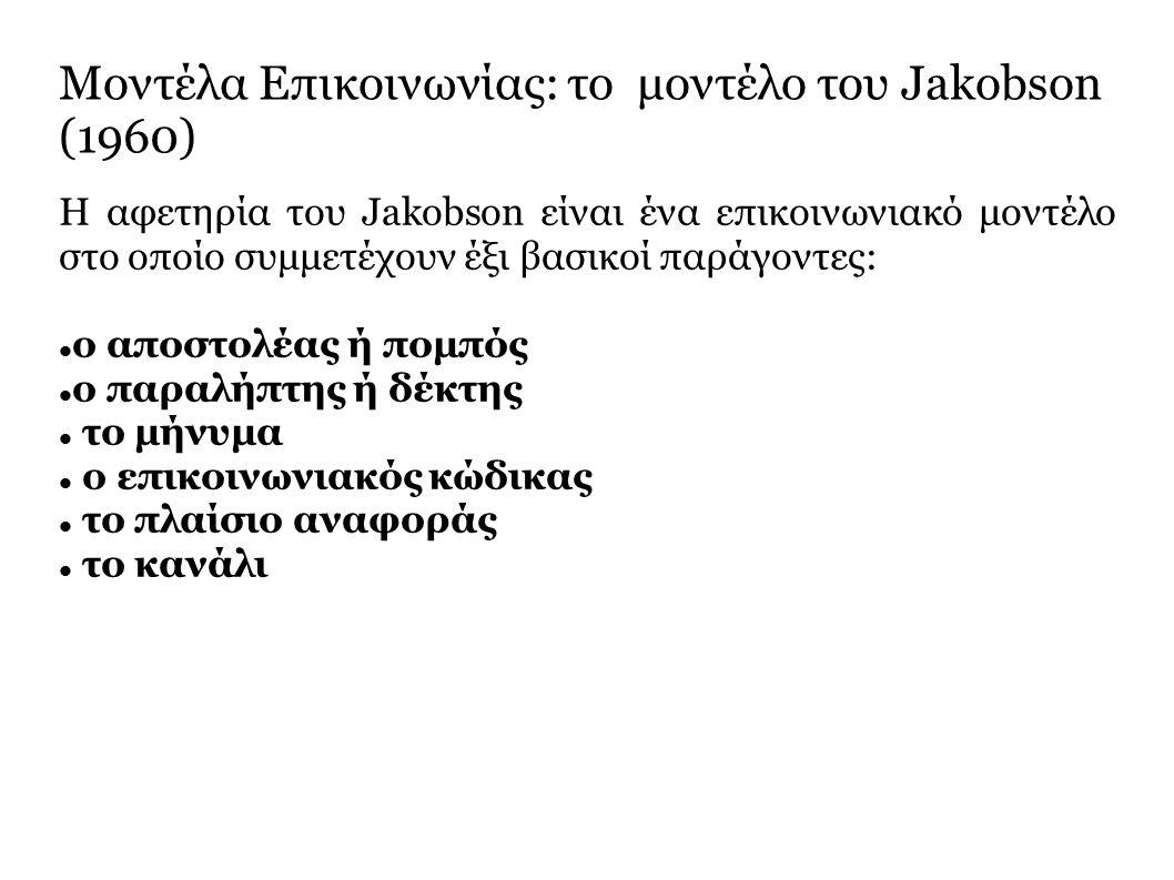 H αφετηρία του Jakobson είναι ένα επικοινωνιακό μοντέλο στο οποίο συμμετέχουν έξι βασικοί παράγοντες: o αποστολέας ή πομπός ο παραλήπτης ή δέκτης το μήνυμα ο επικοινωνιακός κώδικας το πλαίσιο αναφοράς το κανάλι