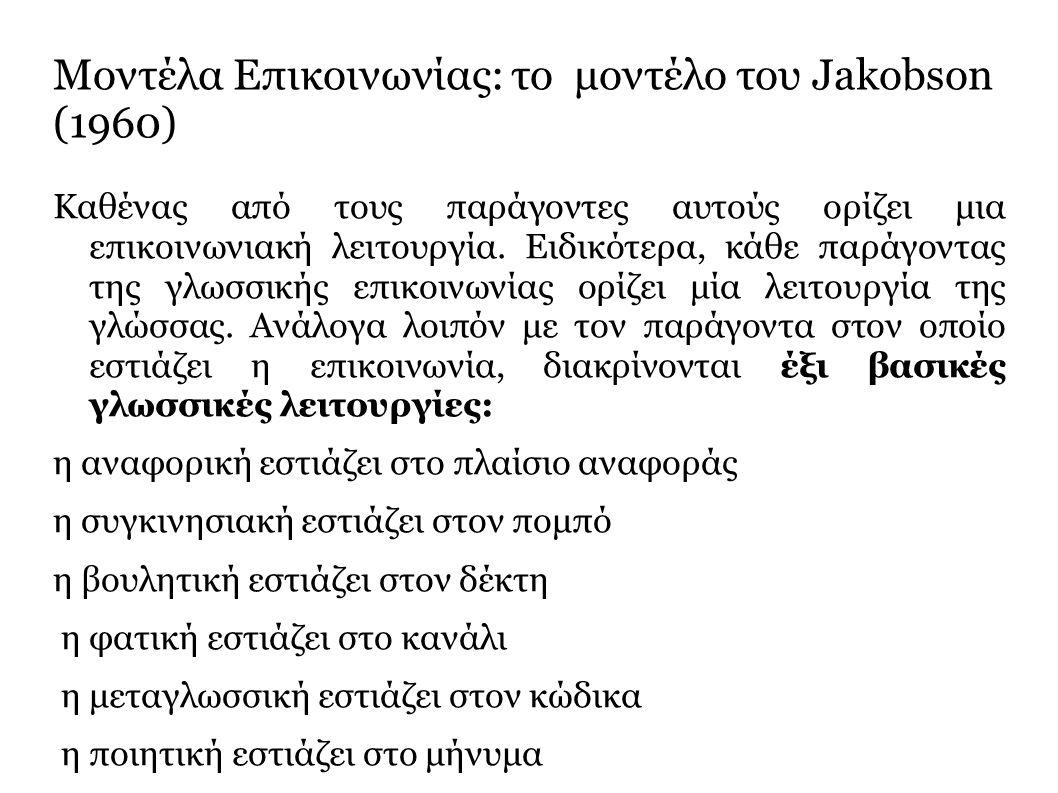Μοντέλα Επικοινωνίας: το μοντέλο του Jakobson (1960) Kαθένας από τους παράγοντες αυτούς ορίζει μια επικοινωνιακή λειτουργία.