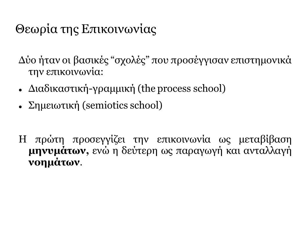 Θεωρία της Επικοινωνίας Δύο ήταν οι βασικές σχολές που προσέγγισαν επιστημονικά την επικοινωνία: Διαδικαστική-γραμμική (the process school) Σημειωτική (semiotics school) Η πρώτη προσεγγίζει την επικοινωνία ως μεταβίβαση μηνυμάτων, ενώ η δεύτερη ως παραγωγή και ανταλλαγή νοημάτων.