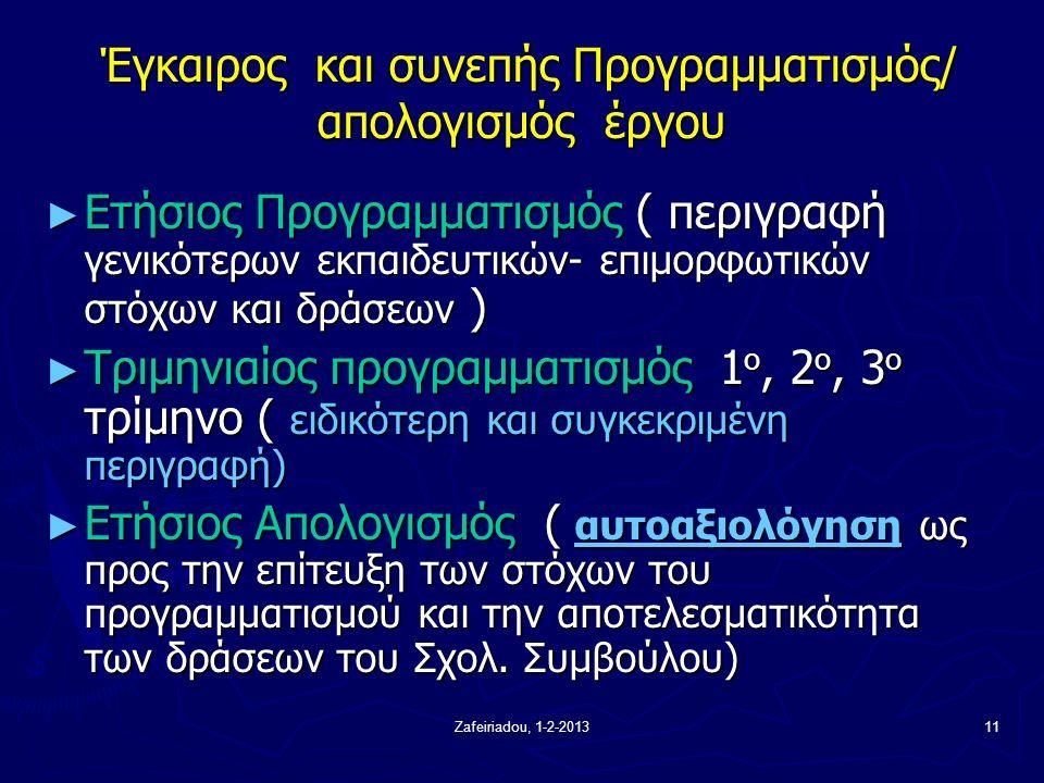 Zafeiriadou, 1-2-201311 Έγκαιρος και συνεπής Προγραμματισμός/ απολογισμός έργου Έγκαιρος και συνεπής Προγραμματισμός/ απολογισμός έργου ► Ετήσιος Προγραμματισμός ( περιγραφή γενικότερων εκπαιδευτικών- επιμορφωτικών στόχων και δράσεων ) ► Τριμηνιαίος προγραμματισμός 1 ο, 2 ο, 3 ο τρίμηνο ( ειδικότερη και συγκεκριμένη περιγραφή) ► Ετήσιος Απολογισμός ( αυτοαξιολόγηση ως προς την επίτευξη των στόχων του προγραμματισμού και την αποτελεσματικότητα των δράσεων του Σχολ.