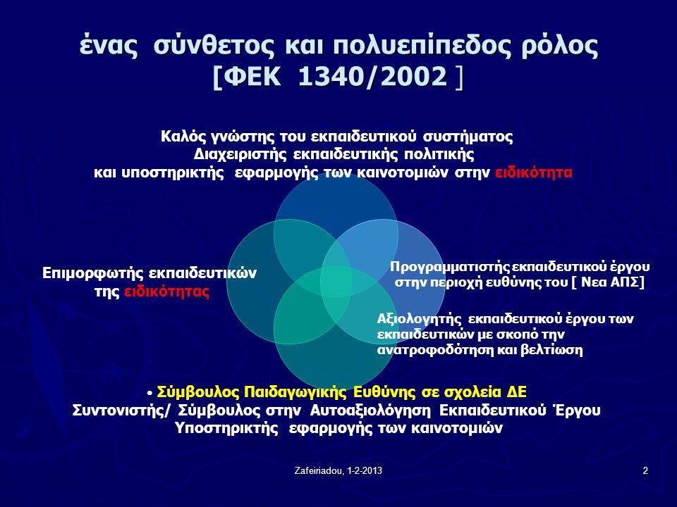 Zafeiriadou, 1-2-20132 ένας σύνθετος και πολυεπίπεδος ρόλος [ΦΕΚ 1340/2002 ] Καλός γνώστης του εκπαιδευτικού συστήματος Διαχειριστής εκπαιδευτικής πολιτικής και υποστηρικτής εφαρμογής των καινοτομιών στην ειδικότητα Προγραμματιστής εκπαιδευτικού έργου στην περιοχή ευθύνης του [ Νεα ΑΠΣ] Σύμβουλος Παιδαγωγικής Ευθύνης σε σχολεία ΔΕ Συντονιστής/ Σύμβουλος στην Αυτοαξιολόγηση Εκπαιδευτικού Έργου Υποστηρικτής εφαρμογής των καινοτομιών Επιμορφωτής εκπαιδευτικών της ειδικότητας Αξιολογητής εκπαιδευτικού έργου των εκπαιδευτικών με σκοπό την ανατροφοδότηση και βελτίωση