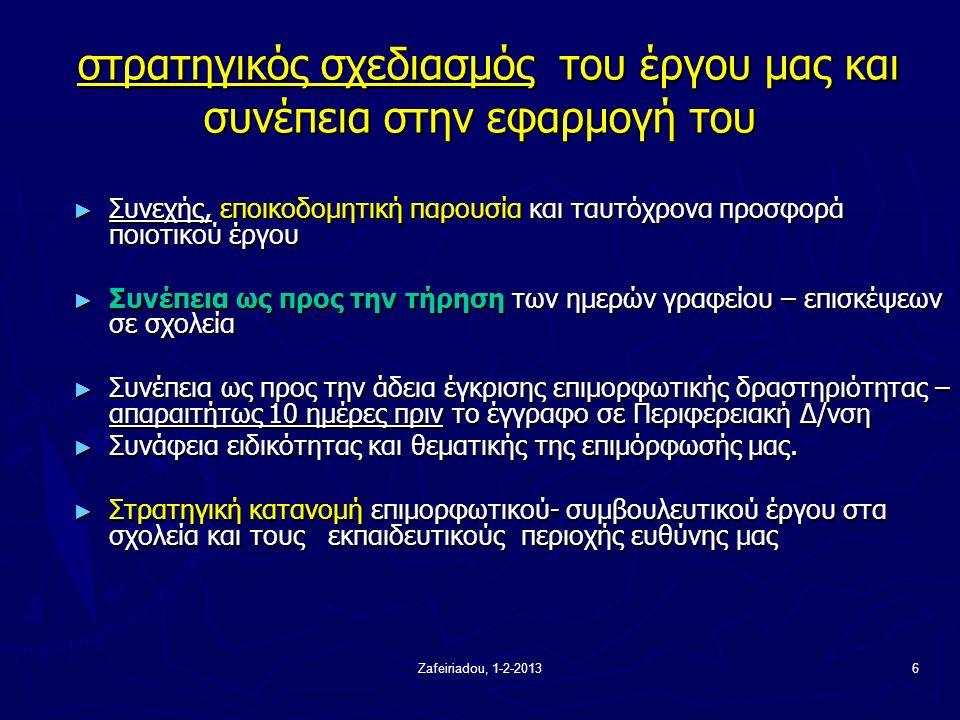Zafeiriadou, 1-2-20136 στρατηγικός σχεδιασμός του έργου μας και συνέπεια στην εφαρμογή του στρατηγικός σχεδιασμός του έργου μας και συνέπεια στην εφαρμογή του ► Συνεχής, εποικοδομητική παρουσία και ταυτόχρονα προσφορά ποιοτικού έργου ► Συνέπεια ως προς την τήρηση των ημερών γραφείου – επισκέψεων σε σχολεία ► Συνέπεια ως προς την άδεια έγκρισης επιμορφωτικής δραστηριότητας – απαραιτήτως 10 ημέρες πριν το έγγραφο σε Περιφερειακή Δ/νση ► Συνάφεια ειδικότητας και θεματικής της επιμόρφωσής μας.