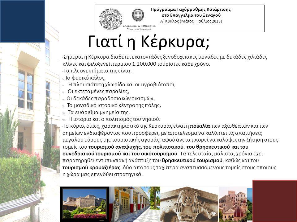 Γιατί η Κέρκυρα; Σήμερα, η Κέρκυρα διαθέτει εκατοντάδες ξενοδοχειακές μονάδες με δεκάδες χιλιάδες κλίνες και φιλοξενεί περίπου 1.200.000 τουρίστες κάθε χρόνο.
