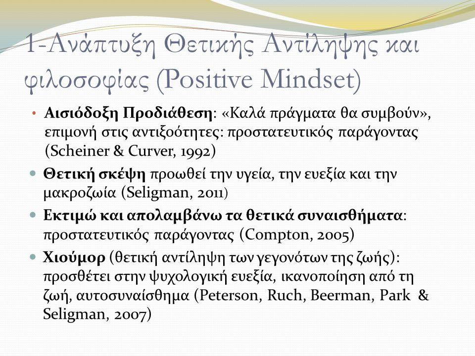 1-Ανάπτυξη Θετικής Αντίληψης και φιλοσοφίας (Positive Mindset) Αισιόδοξη Προδιάθεση: «Καλά πράγματα θα συμβούν», επιμονή στις αντιξοότητες: προστατευτικός παράγοντας (Scheiner & Curver, 1992) Θετική σκέψη προωθεί την υγεία, την ευεξία και την μακροζωία (Seligman, 2011 ) Εκτιμώ και απολαμβάνω τα θετικά συναισθήματα: προστατευτικός παράγοντας (Compton, 2005) Χιούμορ (θετική αντίληψη των γεγονότων της ζωής): προσθέτει στην ψυχολογική ευεξία, ικανοποίηση από τη ζωή, αυτοσυναίσθημα (Peterson, Ruch, Beerman, Park & Seligman, 2007)