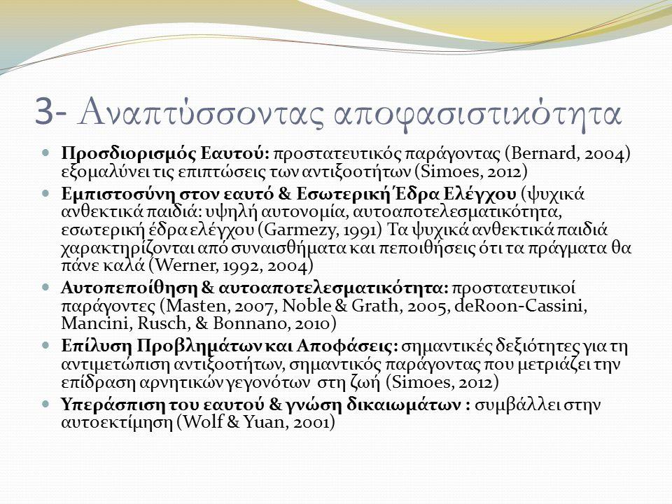 3- Αναπτύσσοντας αποφασιστικότητα Προσδιορισμός Εαυτού: προστατευτικός παράγοντας (Bernard, 2004) εξομαλύνει τις επιπτώσεις των αντιξοοτήτων (Simoes, 2012) Εμπιστοσύνη στον εαυτό & Εσωτερική Έδρα Ελέγχου (ψυχικά ανθεκτικά παιδιά: υψηλή αυτονομία, αυτοαποτελεσματικότητα, εσωτερική έδρα ελέγχου (Garmezy, 1991) Τα ψυχικά ανθεκτικά παιδιά χαρακτηρίζονται από συναισθήματα και πεποιθήσεις ότι τα πράγματα θα πάνε καλά (Werner, 1992, 2004) Αυτοπεποίθηση & αυτοαποτελεσματικότητα: προστατευτικοί παράγοντες (Masten, 2007, Noble & Grath, 2005, deRoon-Cassini, Mancini, Rusch, & Bonnano, 2010) Επίλυση Προβλημάτων και Αποφάσεις: σημαντικές δεξιότητες για τη αντιμετώπιση αντιξοοτήτων, σημαντικός παράγοντας που μετριάζει την επίδραση αρνητικών γεγονότων στη ζωή (Simoes, 2012) Υπεράσπιση του εαυτού & γνώση δικαιωμάτων : συμβάλλει στην αυτοεκτίμηση (Wolf & Yuan, 2001)