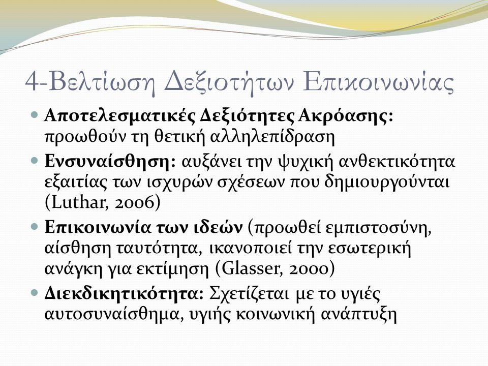 4-Βελτίωση Δεξιοτήτων Επικοινωνίας Αποτελεσματικές Δεξιότητες Ακρόασης: προωθούν τη θετική αλληλεπίδραση Ενσυναίσθηση: αυξάνει την ψυχική ανθεκτικότητα εξαιτίας των ισχυρών σχέσεων που δημιουργούνται (Luthar, 2006) Επικοινωνία των ιδεών (προωθεί εμπιστοσύνη, αίσθηση ταυτότητα, ικανοποιεί την εσωτερική ανάγκη για εκτίμηση (Glasser, 2000) Διεκδικητικότητα: Σχετίζεται με το υγιές αυτοσυναίσθημα, υγιής κοινωνική ανάπτυξη