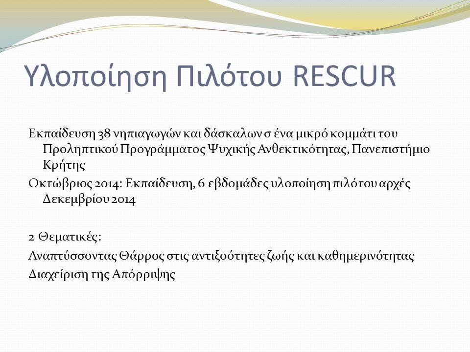 Yλοποίηση Πιλότου RESCUR Εκπαίδευση 38 νηπιαγωγών και δάσκαλων σ ένα μικρό κομμάτι του Προληπτικού Προγράμματος Ψυχικής Ανθεκτικότητας, Πανεπιστήμιο Κρήτης Οκτώβριος 2014: Εκπαίδευση, 6 εβδομάδες υλοποίηση πιλότου αρχές Δεκεμβρίου 2014 2 Θεματικές: Αναπτύσσοντας Θάρρος στις αντιξοότητες ζωής και καθημερινότητας Διαχείριση της Απόρριψης