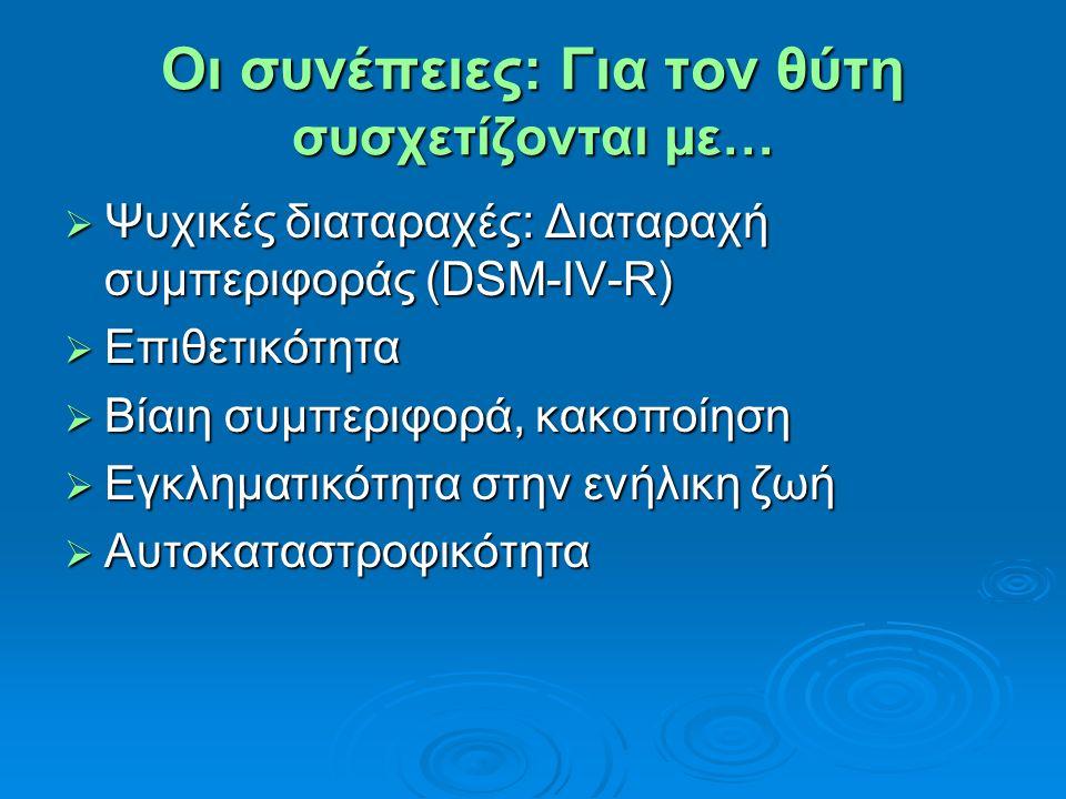 Οι συνέπειες: Για τον θύτη συσχετίζονται με…  Ψυχικές διαταραχές: Διαταραχή συμπεριφοράς (DSM-IV-R)  Επιθετικότητα  Βίαιη συμπεριφορά, κακοποίηση 