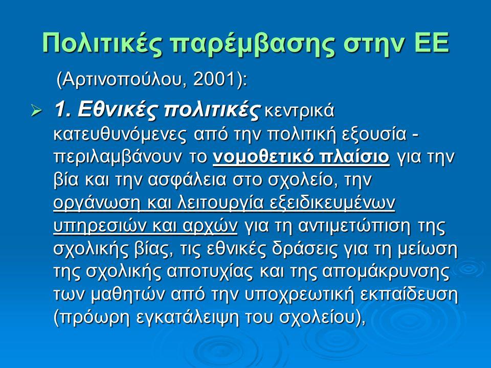 Πολιτικές παρέμβασης στην ΕΕ (Αρτινοπούλου, 2001): (Αρτινοπούλου, 2001):  1. Εθνικές πολιτικές κεντρικά κατευθυνόμενες από την πολιτική εξουσία - περ