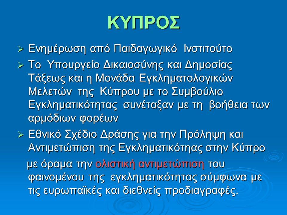 ΚΥΠΡΟΣ  Ενημέρωση από Παιδαγωγικό Ινστιτούτο  Το Υπουργείο Δικαιοσύνης και Δημοσίας Τάξεως και η Μονάδα Εγκληματολογικών Μελετών της Κύπρου με το Συ