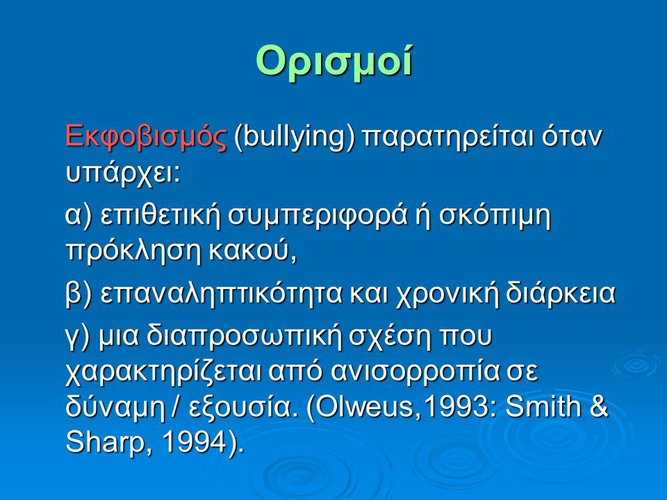 Oρισμοί Εκφοβισμός (bullying) παρατηρείται όταν υπάρχει: Εκφοβισμός (bullying) παρατηρείται όταν υπάρχει: α) επιθετική συμπεριφορά ή σκόπιμη πρόκληση