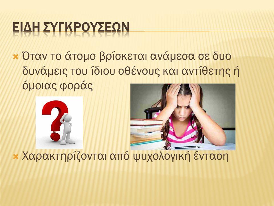 Όταν το άτομο βρίσκεται ανάμεσα σε δυο δυνάμεις του ίδιου σθένους και αντίθετης ή όμοιας φοράς  Χαρακτηρίζονται από ψυχολογική ένταση