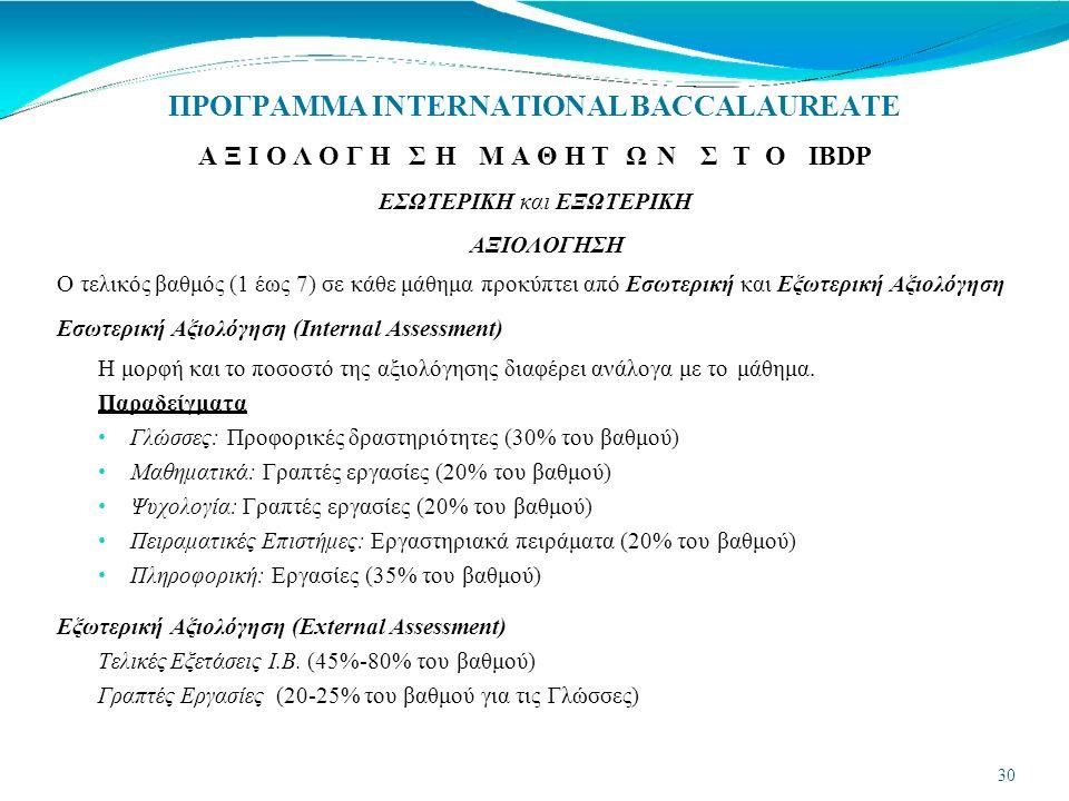 ΠΡΟΓΡΑΜΜΑ INTERNATIONAL BACCALAUREATE Α Ξ Ι Ο Λ Ο Γ Η Σ ΗΜ Α Θ Η Τ Ω ΝΣ Τ ΟΙΒDP ΕΣΩΤΕΡΙΚΗ και ΕΞΩΤΕΡΙΚΗ 30 ΑΞΙΟΛΟΓΗΣΗ Ο τελικός βαθμός (1 έως 7) σε κάθε μάθημα προκύπτει από Εσωτερική και Εξωτερική Αξιολόγηση Εσωτερική Αξιολόγηση (Internal Assessment) Η μορφή και το ποσοστό της αξιολόγησης διαφέρει ανάλογα με το μάθημα.