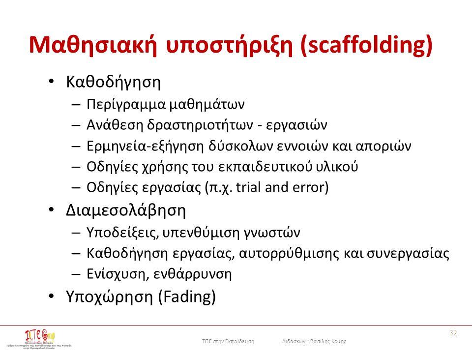 ΤΠΕ στην Εκπαίδευση Διδάσκων : Βασίλης Κόμης Μαθησιακή υποστήριξη (scaffolding) Καθοδήγηση – Περίγραμμα μαθημάτων – Ανάθεση δραστηριοτήτων - εργασιών – Ερμηνεία-εξήγηση δύσκολων εννοιών και αποριών – Οδηγίες χρήσης του εκπαιδευτικού υλικού – Οδηγίες εργασίας (π.χ.