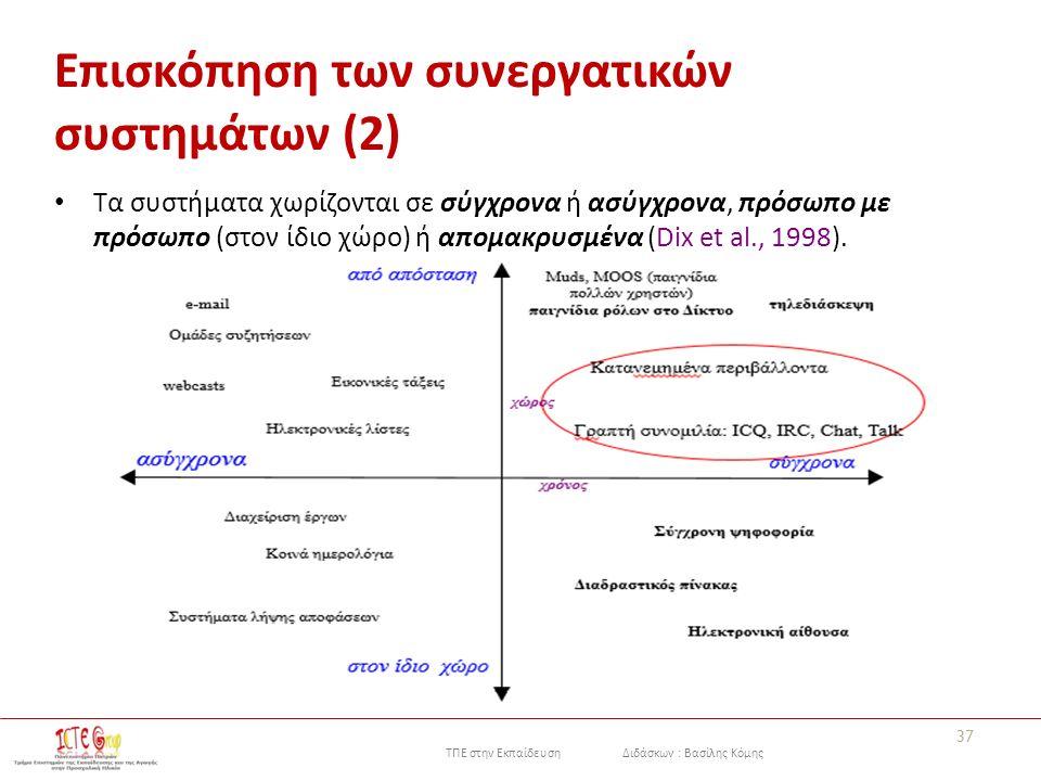 ΤΠΕ στην Εκπαίδευση Διδάσκων : Βασίλης Κόμης 37 Επισκόπηση των συνεργατικών συστημάτων (2) Τα συστήματα χωρίζονται σε σύγχρονα ή ασύγχρονα, πρόσωπο με πρόσωπο (στον ίδιο χώρο) ή απομακρυσμένα (Dix et al., 1998).