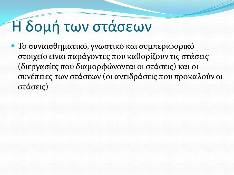Η δομή των στάσεων Το συναισθηματικό, γνωστικό και συμπεριφορικό στοιχείο είναι παράγοντες που καθορίζουν τις στάσεις (διεργασίες που διαμορφώνονται οι στάσεις) και οι συνέπειες των στάσεων (οι αντιδράσεις που προκαλούν οι στάσεις)