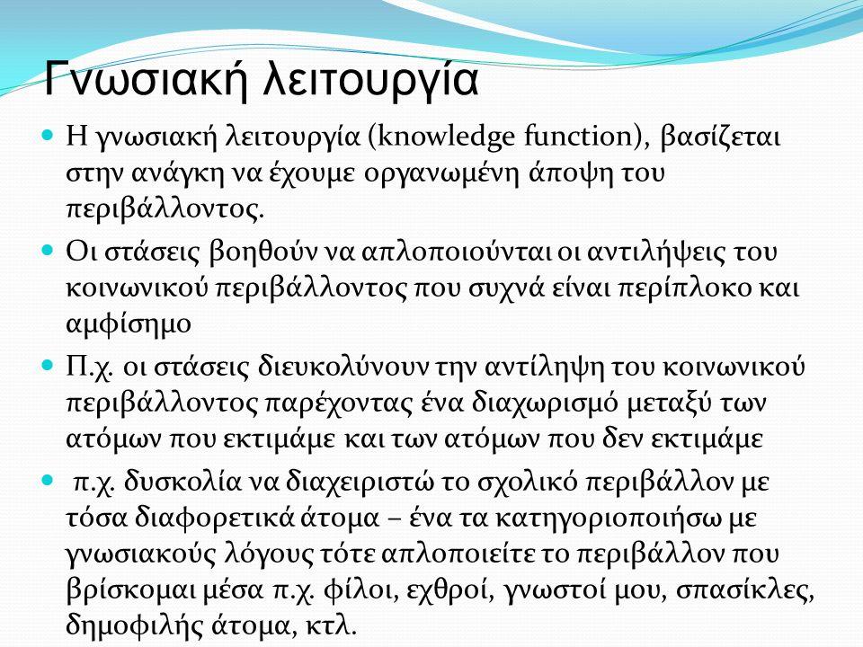 Γνωσιακή λειτουργία Η γνωσιακή λειτουργία (knowledge function), βασίζεται στην ανάγκη να έχουμε οργανωμένη άποψη του περιβάλλοντος. Οι στάσεις βοηθούν