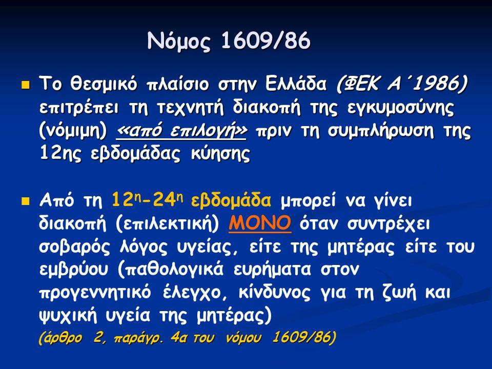 Νόμος 1609/86 Το θεσμικό πλαίσιο στην Ελλάδα (ΦΕΚ Α΄1986) επιτρέπει τη τεχνητή διακοπή της εγκυμοσύνης (νόμιμη) «από επιλογή» πριν τη συμπλήρωση της 12ης εβδομάδας κύησης Το θεσμικό πλαίσιο στην Ελλάδα (ΦΕΚ Α΄1986) επιτρέπει τη τεχνητή διακοπή της εγκυμοσύνης (νόμιμη) «από επιλογή» πριν τη συμπλήρωση της 12ης εβδομάδας κύησης Από τη 12 η -24 η εβδομάδα μπορεί να γίνει διακοπή (επιλεκτική) ΜΟΝΟ όταν συντρέχει σοβαρός λόγος υγείας, είτε της μητέρας είτε του εμβρύου (παθολογικά ευρήματα στον προγεννητικό έλεγχο, κίνδυνος για τη ζωή και ψυχική υγεία της μητέρας) ρθρο 2, παράγρ.
