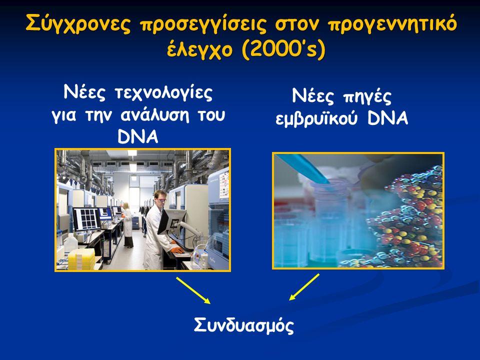 Σύγχρονες προσεγγίσεις στον προγεννητικό έλεγχο (2000's) Νέες τεχνολογίες για την ανάλυση του DNA Νέες πηγές εμβρυϊκού DNA Συνδυασμός