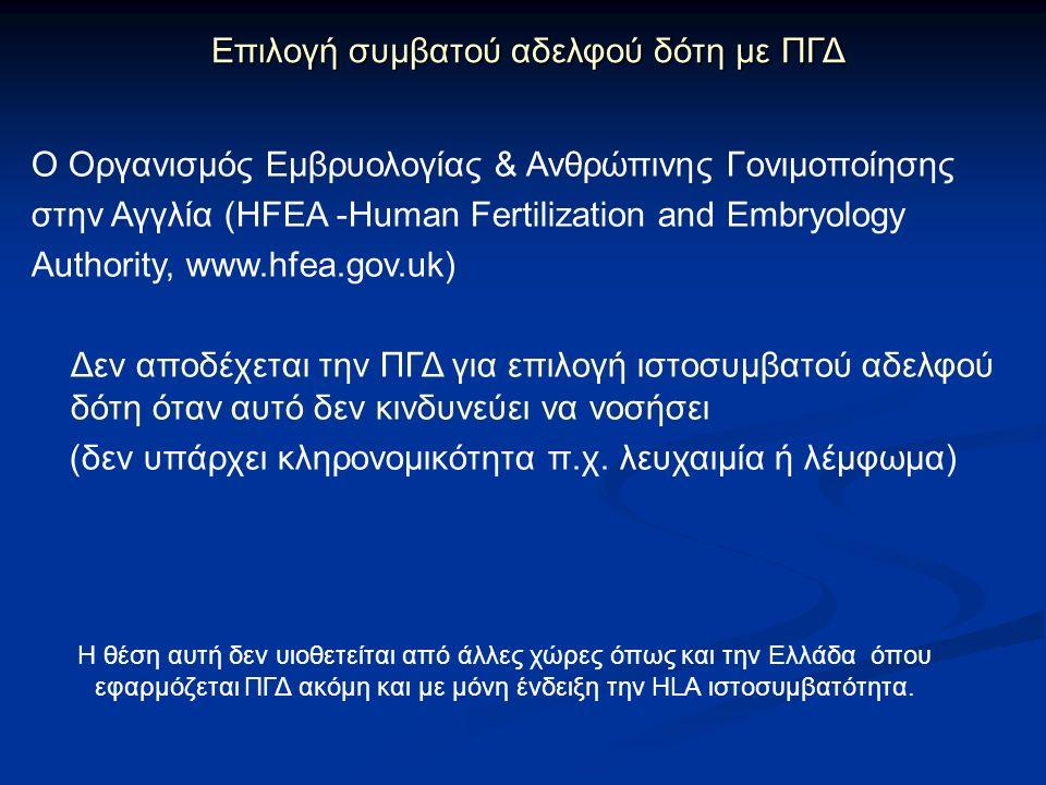 Ο Οργανισμός Εμβρυολογίας & Ανθρώπινης Γονιμοποίησης στην Αγγλία (ΗFEA -Human Fertilization and Embryology Authority, www.hfea.gov.uk) Δεν αποδέχεται την ΠΓΔ για επιλογή ιστοσυμβατού αδελφού δότη όταν αυτό δεν κινδυνεύει να νοσήσει (δεν υπάρχει κληρονομικότητα π.χ.