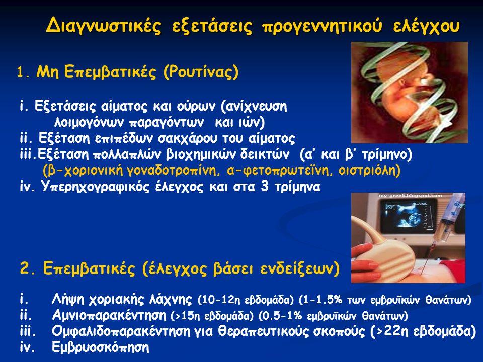 Διαγνωστικές εξετάσεις προγεννητικού ελέγχου 1. Μη Eπεμβατικές (Ρουτίνας) i.