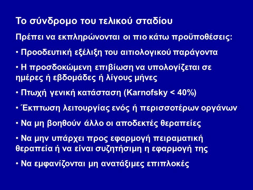Το σύνδρομο του τελικού σταδίου Πρέπει να εκπληρώνονται οι πιο κάτω προϋποθέσεις: Προοδευτική εξέλιξη του αιτιολογικού παράγοντα Η προσδοκώμενη επιβίωση να υπολογίζεται σε ημέρες ή εβδομάδες ή λίγους μήνες Πτωχή γενική κατάσταση (Karnofsky < 40%) Έκπτωση λειτουργίας ενός ή περισσοτέρων οργάνων Να μη βοηθούν άλλο οι αποδεκτές θεραπείες Να μην υπάρχει προς εφαρμογή πειραματική θεραπεία ή να είναι συζητήσιμη η εφαρμογή της Να εμφανίζονται μη ανατάξιμες επιπλοκές