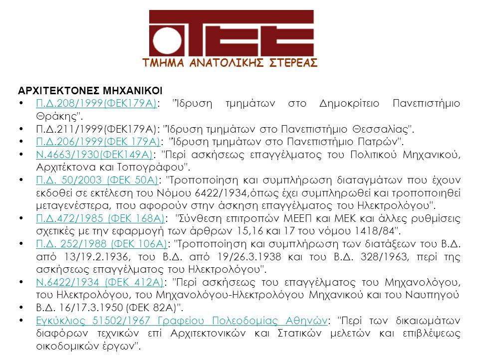 ΤΜΗΜΑ ΑΝΑΤΟΛΙΚΗΣ ΣΤΕΡΕΑΣ ΑΡΧΙΤΕΚΤΟΝΕΣ ΜΗΧΑΝΙΚΟΙ Π.Δ.208/1999(ΦΕΚ179Α): Ίδρυση τμημάτων στο Δημοκρίτειο Πανεπιστήμιο Θράκης .