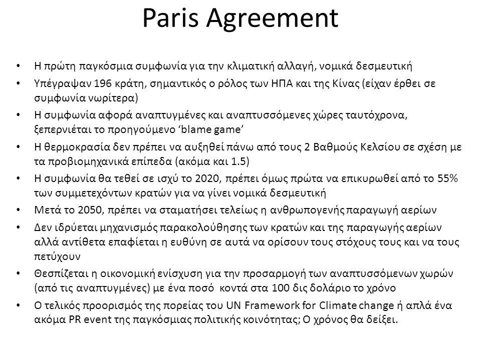 Paris Agreement Η πρώτη παγκόσμια συμφωνία για την κλιματική αλλαγή, νομικά δεσμευτική Υπέγραψαν 196 κράτη, σημαντικός ο ρόλος των ΗΠΑ και της Κίνας (