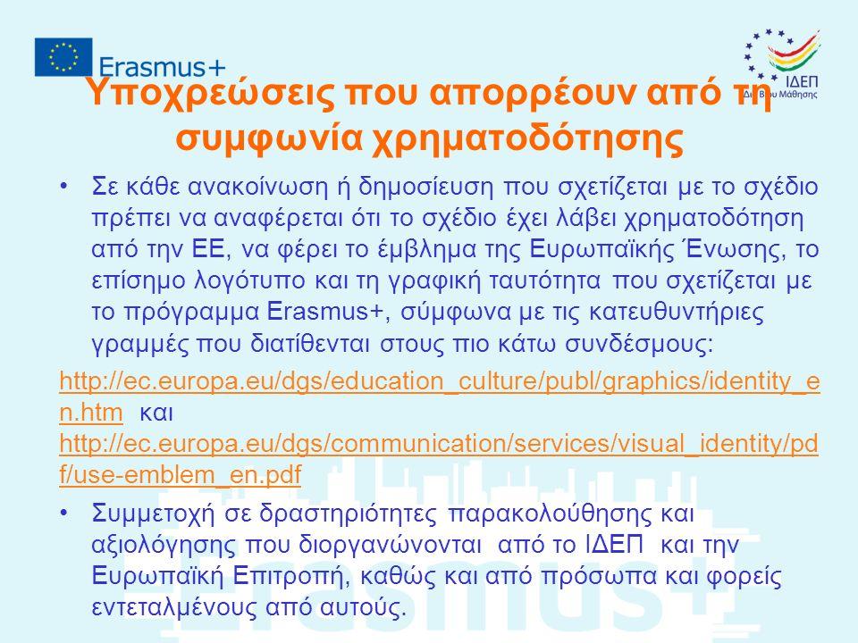 Υποχρεώσεις που απορρέουν από τη συμφωνία χρηματοδότησης Σε κάθε ανακοίνωση ή δημοσίευση που σχετίζεται με το σχέδιο πρέπει να αναφέρεται ότι το σχέδιο έχει λάβει χρηματοδότηση από την ΕΕ, να φέρει το έμβλημα της Ευρωπαϊκής Ένωσης, το επίσημο λογότυπο και τη γραφική ταυτότητα που σχετίζεται με το πρόγραμμα Erasmus+, σύμφωνα με τις κατευθυντήριες γραμμές που διατίθενται στους πιο κάτω συνδέσμους: http://ec.europa.eu/dgs/education_culture/publ/graphics/identity_e n.htmhttp://ec.europa.eu/dgs/education_culture/publ/graphics/identity_e n.htm και http://ec.europa.eu/dgs/communication/services/visual_identity/pd f/use-emblem_en.pdf http://ec.europa.eu/dgs/communication/services/visual_identity/pd f/use-emblem_en.pdf Συμμετοχή σε δραστηριότητες παρακολούθησης και αξιολόγησης που διοργανώνονται από το ΙΔΕΠ και την Ευρωπαϊκή Επιτροπή, καθώς και από πρόσωπα και φορείς εντεταλμένους από αυτούς.