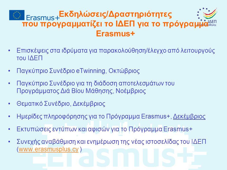 Εκδηλώσεις/Δραστηριότητες που προγραμματίζει το ΙΔΕΠ για το πρόγραμμα Erasmus+ Επισκέψεις στα ιδρύματα για παρακολούθηση/έλεγχο από λειτουργούς του ΙΔΕΠ Παγκύπριο Συνέδριο eTwinning, Οκτώβριος Παγκύπριο Συνέδριο για τη διάδοση αποτελεσμάτων του Προγράμματος Διά Βίου Μάθησης, Νοέμβριος Θεματικό Συνέδριο, Δεκέμβριος Ημερίδες πληροφόρησης για το Πρόγραμμα Erasmus+, Δεκέμβριος Εκτυπώσεις εντύπων και αφισών για το Πρόγραμμα Erasmus+ Συνεχής αναβάθμιση και ενημέρωση της νέας ιστοσελίδας του ΙΔΕΠ (www.erasmusplus.cy )www.erasmusplus.cy