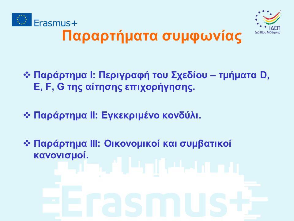 Παραρτήματα συμφωνίας  Παράρτημα Ι: Περιγραφή του Σχεδίου – τμήματα D, E, F, G της αίτησης επιχορήγησης.