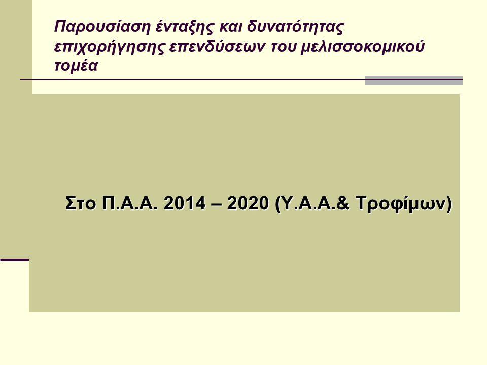 Στο Π.Α.Α. 2014 – 2020 (Υ.Α.Α.& Τροφίμων) Στο Π.Α.Α. 2014 – 2020 (Υ.Α.Α.& Τροφίμων) Παρουσίαση ένταξης και δυνατότητας επιχορήγησης επενδύσεων του μελ