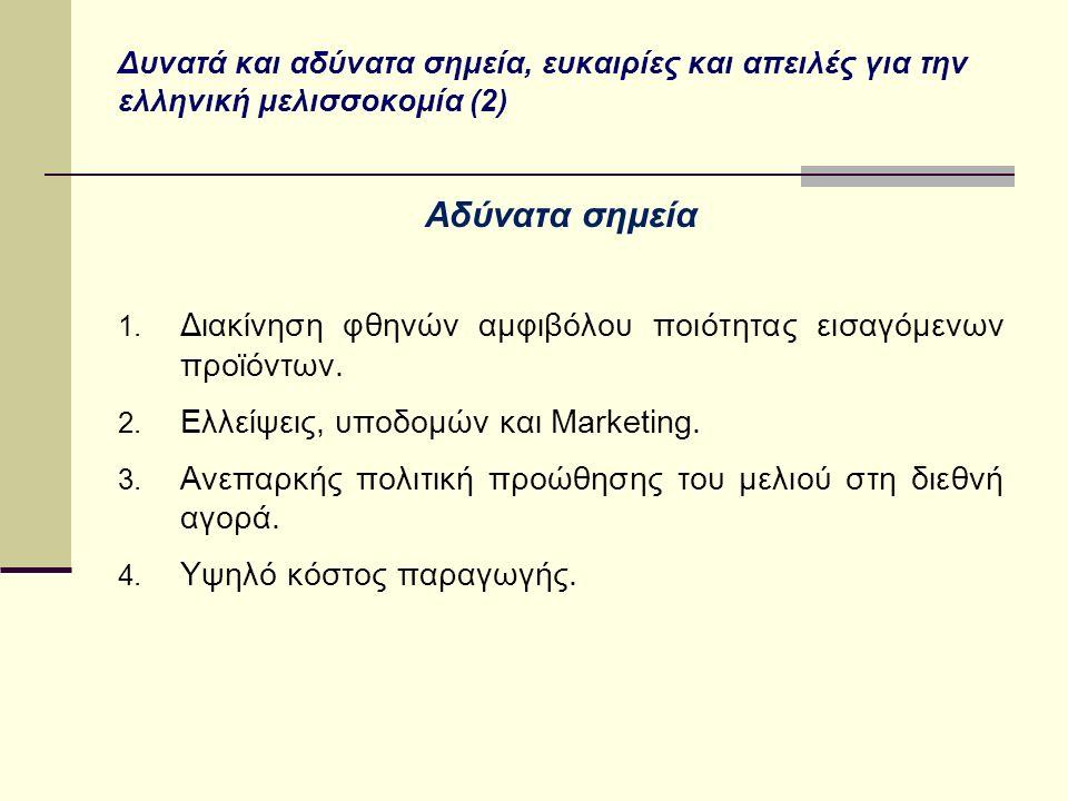 Δυνατά και αδύνατα σημεία, ευκαιρίες και απειλές για την ελληνική μελισσοκομία (2) Αδύνατα σημεία 1. Διακίνηση φθηνών αμφιβόλου ποιότητας εισαγόμενων