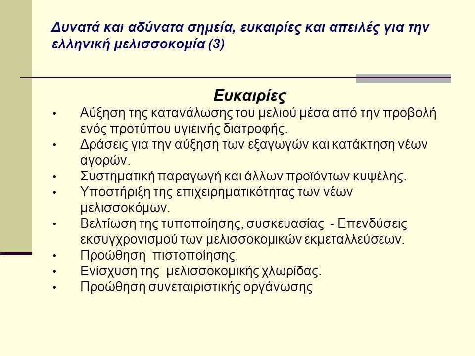 Δυνατά και αδύνατα σημεία, ευκαιρίες και απειλές για την ελληνική μελισσοκομία (3) Ευκαιρίες Αύξηση της κατανάλωσης του μελιού μέσα από την προβολή ενός προτύπου υγιεινής διατροφής.