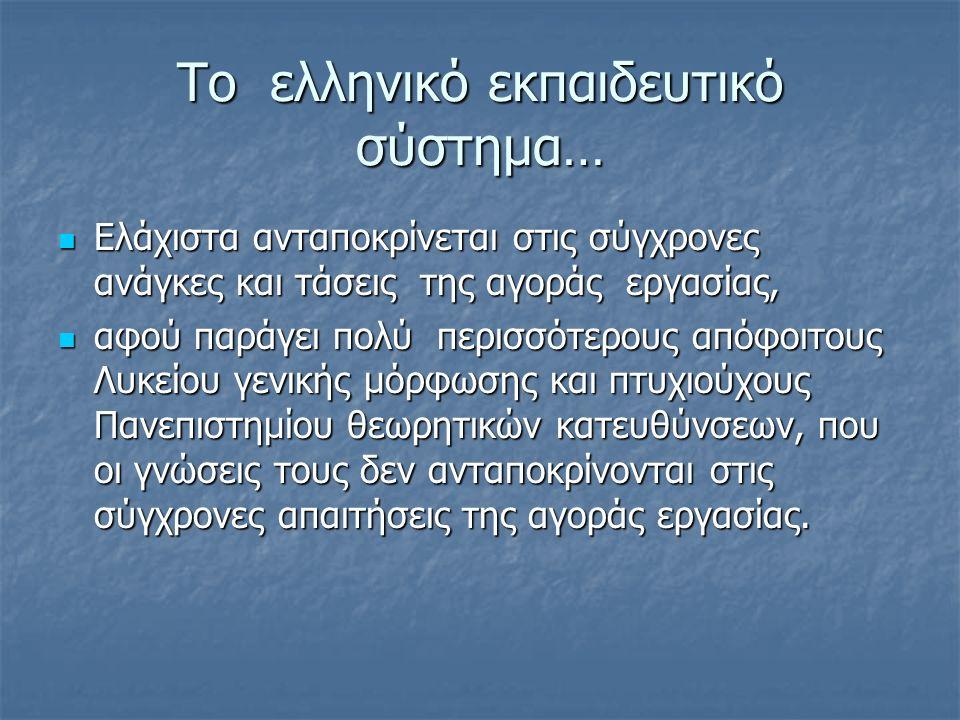 Το ελληνικό εκπαιδευτικό σύστημα… Ελάχιστα ανταποκρίνεται στις σύγχρονες ανάγκες και τάσεις της αγοράς εργασίας, Ελάχιστα ανταποκρίνεται στις σύγχρονε