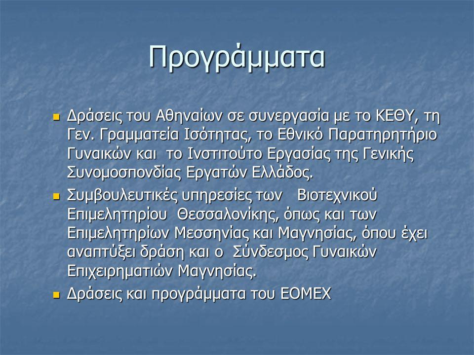 Προγράμματα Δράσεις του Αθηναίων σε συνεργασία με το ΚΕΘΥ, τη Γεν. Γραμματεία Ισότητας, το Εθνικό Παρατηρητήριο Γυναικών και το Ινστιτούτο Εργασίας τη