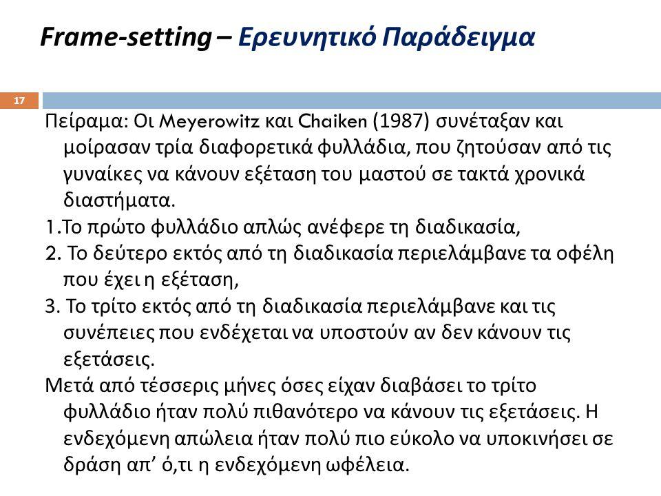 Frame - setting – Ερευνητικό Παράδειγμα Πείραμα : Οι Meyerowitz και Chaiken (1987) συνέταξαν και μοίρασαν τρία διαφορετικά φυλλάδια, που ζητούσαν από τις γυναίκες να κάνουν εξέταση του μαστού σε τακτά χρονικά διαστήματα.
