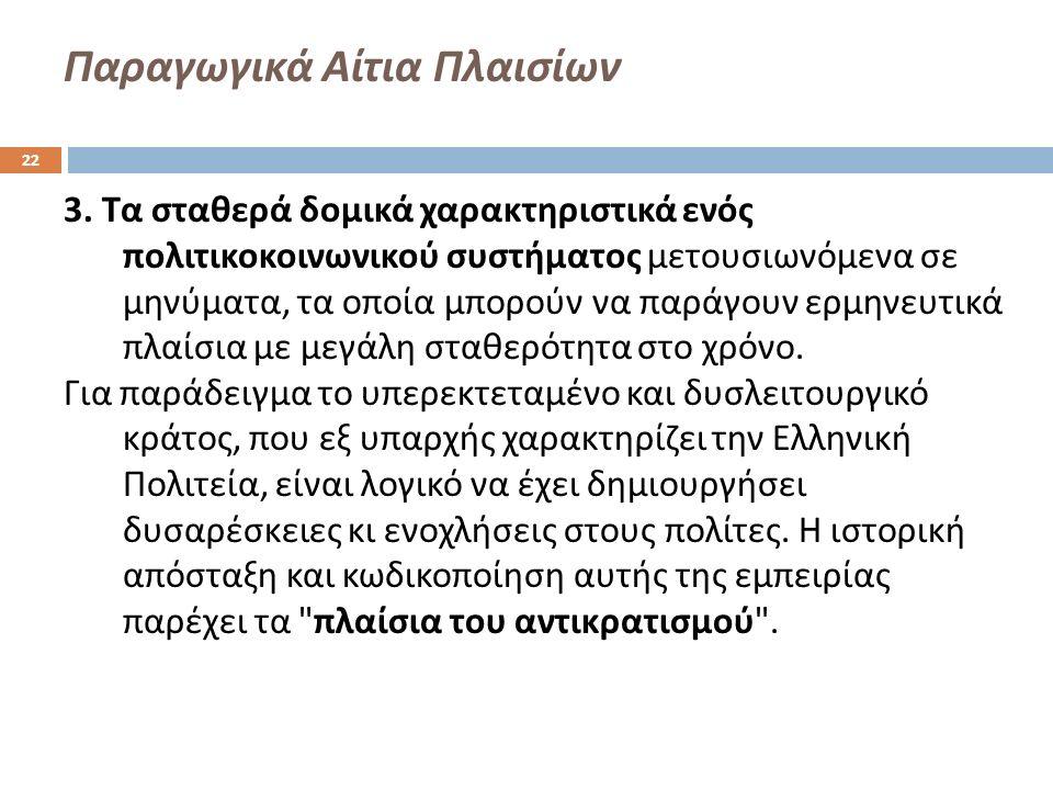 Παραγωγικά Αίτια Πλαισίων 3. Τα σταθερά δομικά χαρακτηριστικά ενός πολιτικοκοινωνικού συστήματος μετουσιωνόμενα σε μηνύματα, τα οποία μπορούν να παράγ