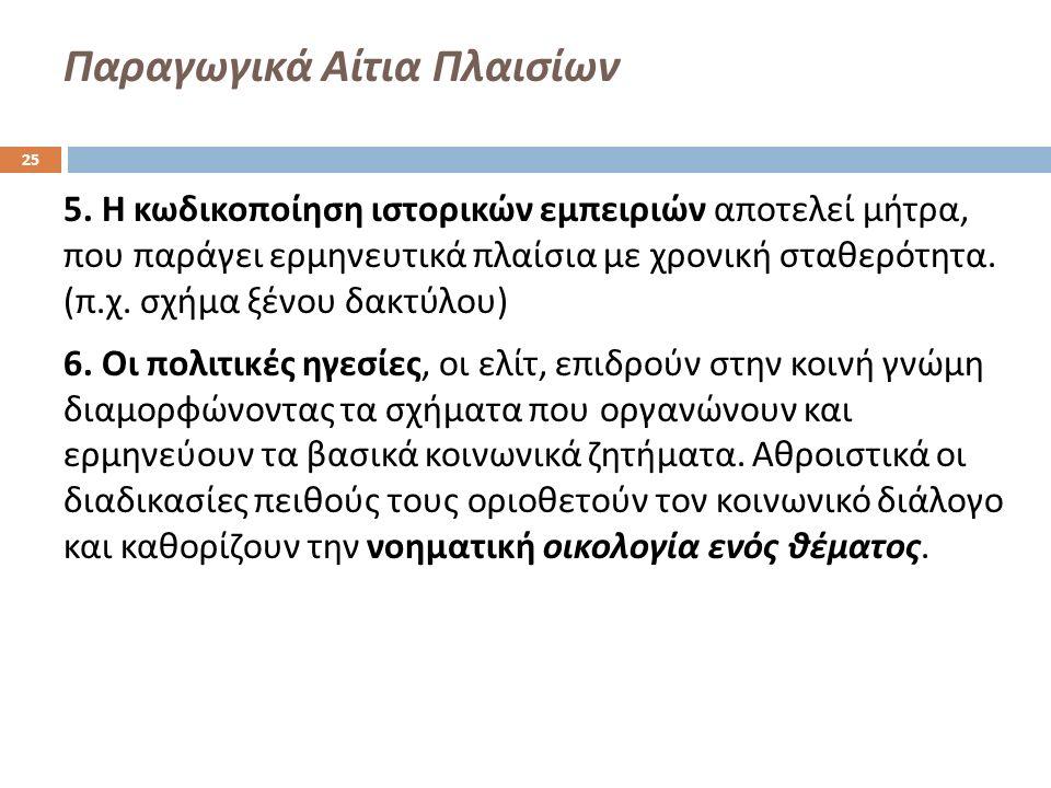Παραγωγικά Αίτια Πλαισίων 5.