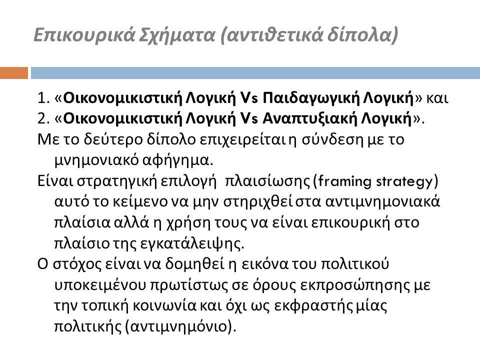 1. « Οικονομικιστική Λογική Vs Παιδαγωγική Λογική » και 2. « Οικονομικιστική Λογική Vs Αναπτυξιακή Λογική ». Με το δεύτερο δίπολο επιχειρείται η σύνδε