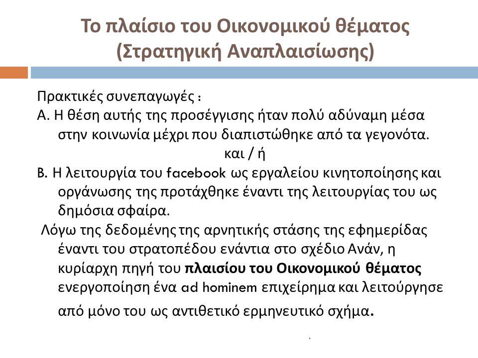 Το πλαίσιο του Οικονομικού θέματος ( Στρατηγική Αναπλαισίωσης ) Πρακτικές συνεπαγωγές : Α.