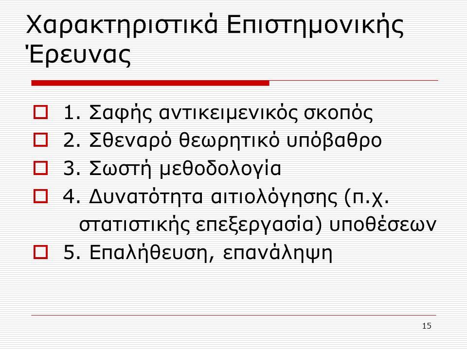 15 Χαρακτηριστικά Επιστημονικής Έρευνας  1. Σαφής αντικειμενικός σκοπός  2.