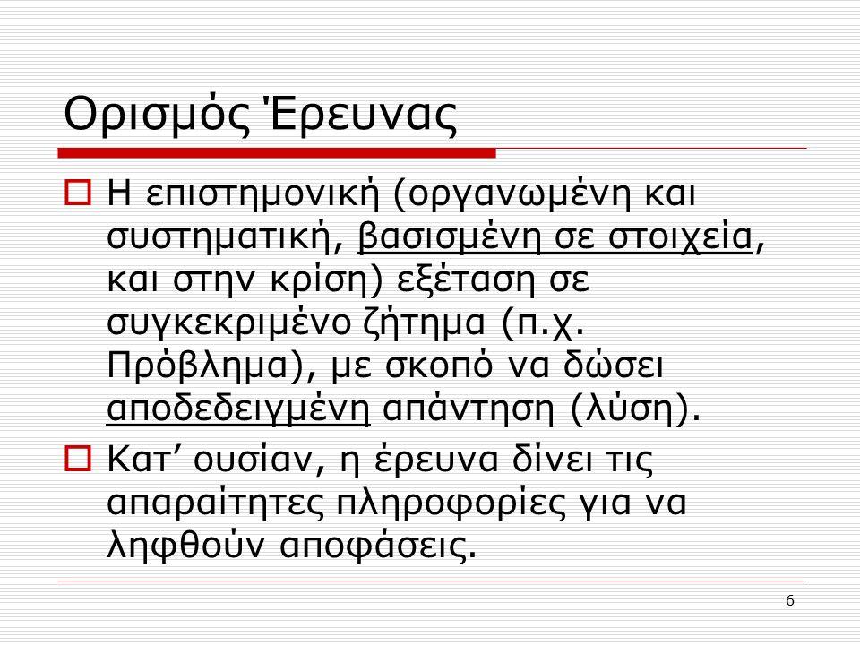 6 Ορισμός Έρευνας  Η επιστημονική (οργανωμένη και συστηματική, βασισμένη σε στοιχεία, και στην κρίση) εξέταση σε συγκεκριμένο ζήτημα (π.χ.