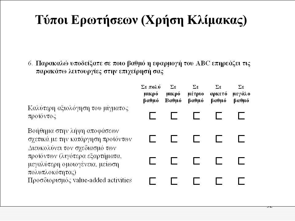92 Τύποι Ερωτήσεων (Χρήση Κλίμακας)