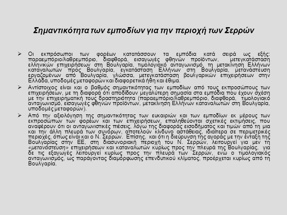 Σημαντικότητα των εμποδίων για την περιοχή των Σερρών  Οι εκπρόσωποι των φορέων κατατάσσουν τα εμπόδια κατά σειρά ως εξής: παραεμπόριο/λαθρεμπόριο, διαφθορά, εισαγωγές φθηνών προϊόντων, μετεγκατάσταση ελληνικών επιχειρήσεων στη Βουλγαρία, τιμολογιακό ανταγωνισμό, τη μετακίνηση Ελλήνων καταναλωτών προς Βουλγαρία, εγκατάσταση Ελλήνων στη Βουλγαρία, μετανάστευση εργαζομένων από Βουλγαρία, γλώσσα, μετεγκατάσταση βουλγαρικών επιχειρήσεων στην Ελλάδα, υποδομές μεταφορών και διαφορετικά ήθη και έθιμα.