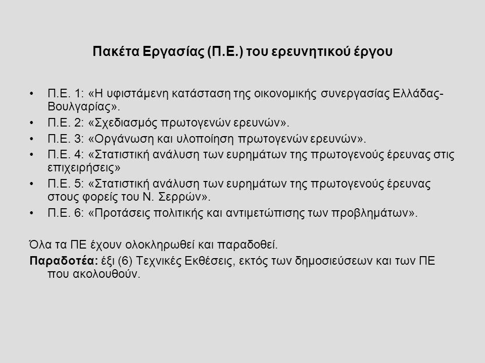 Παραδοτέα: Δημοσιεύσεις Magoulios George, Papagiannakis Apostolos, Mantzaris John, 2014, «The Business Cooperation in the Serres - Bulgaria Region and Consequences of Bulgaria s Accession to the EU», Journal of Business and Economics (USA) Volume 5, No.
