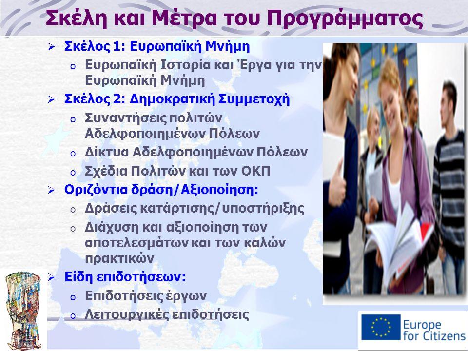 Σκέλη και Μέτρα του Προγράμματος  Σκέλος 1: Ευρωπαϊκή Μνήμη o Ευρωπαϊκή Ιστορία και Έργα για την Ευρωπαϊκή Μνήμη  Σκέλος 2: Δημοκρατική Συμμετοχή o Συναντήσεις πολιτών Αδελφοποιημένων Πόλεων o Δίκτυα Αδελφοποιημένων Πόλεων o Σχέδια Πολιτών και των ΟΚΠ  Οριζόντια δράση/Αξιοποίηση: o Δράσεις κατάρτισης/υποστήριξης o Διάχυση και αξιοποίηση των αποτελεσμάτων και των καλών πρακτικών  Είδη επιδοτήσεων: o Επιδοτήσεις έργων o Λειτουργικές επιδοτήσεις