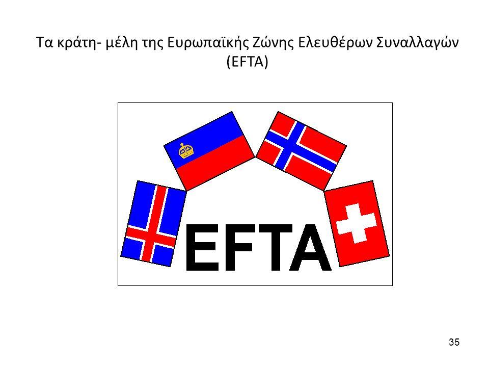 Τα κράτη- μέλη της Ευρωπαϊκής Ζώνης Ελευθέρων Συναλλαγών (EFTA) 35