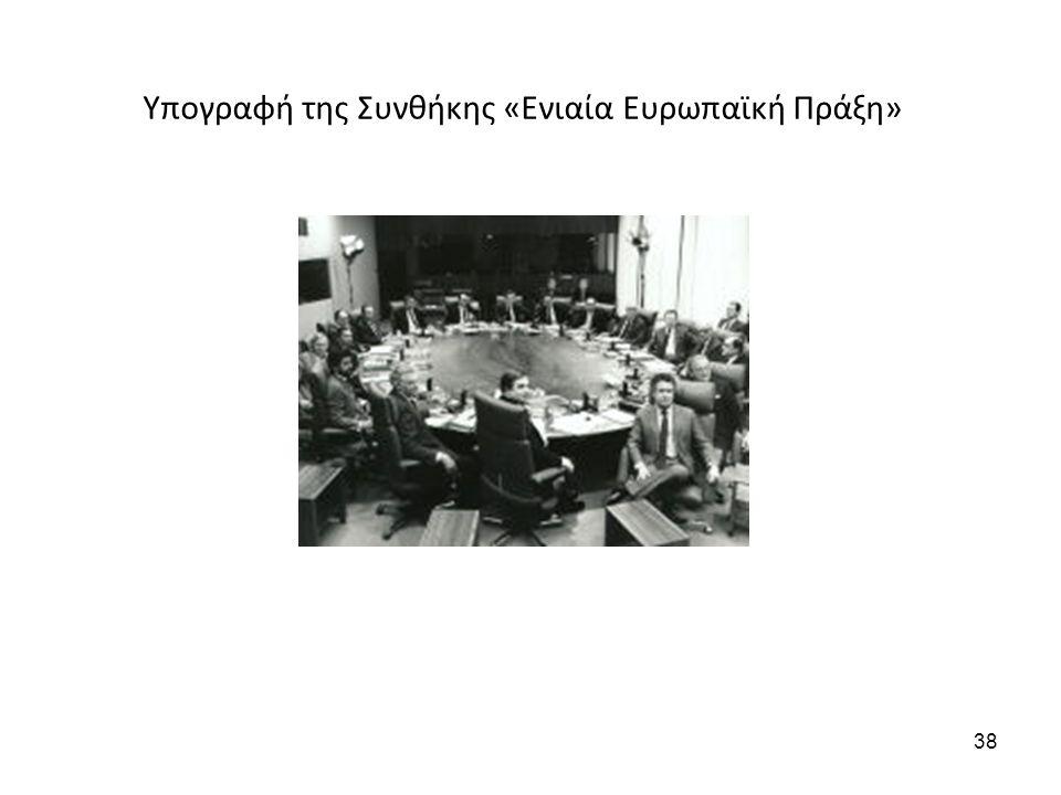 Υπογραφή της Συνθήκης «Ενιαία Ευρωπαϊκή Πράξη» 38